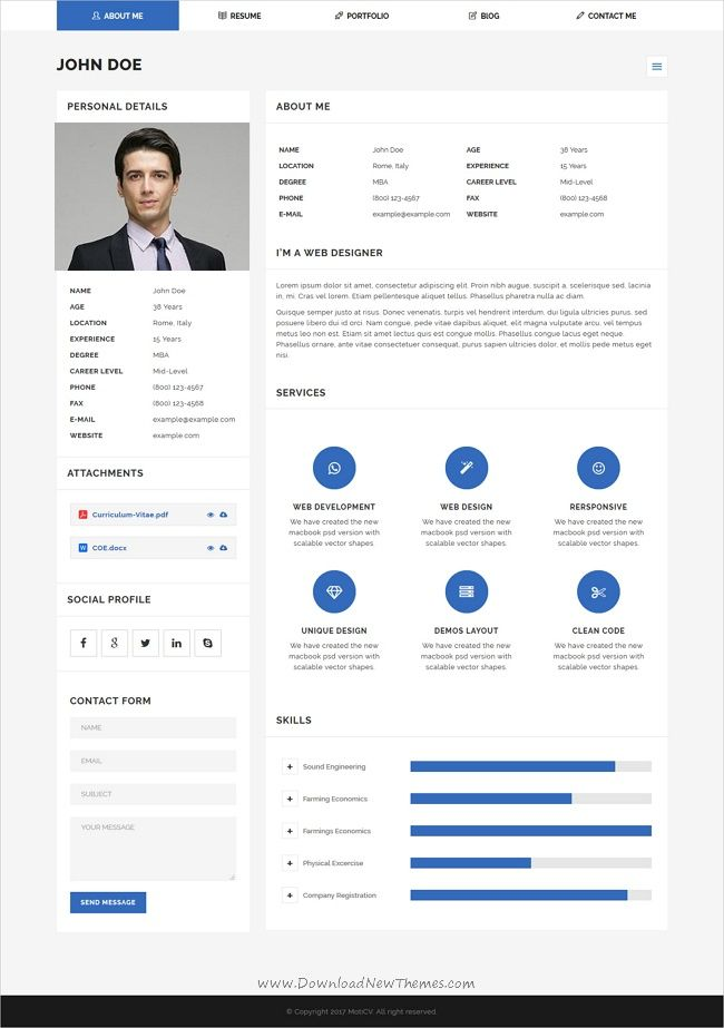 moticv vcard resume builder wordpress theme