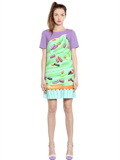 Boutique Moschino Cupcake Printed Techno Cady Dress Multicolor Modesens Robe Kawaii Idees Vestimentaires Robe Multicolore