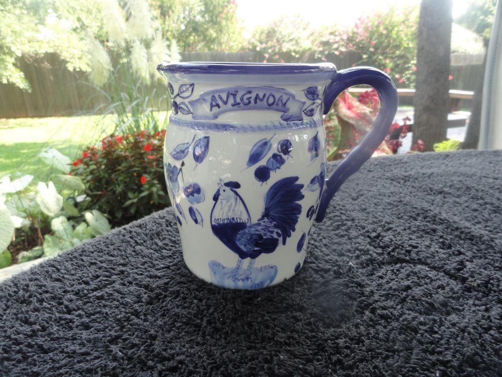 Certified International Blue Rooster Flowers (Avignon) White Mug $6.00/ 9.96