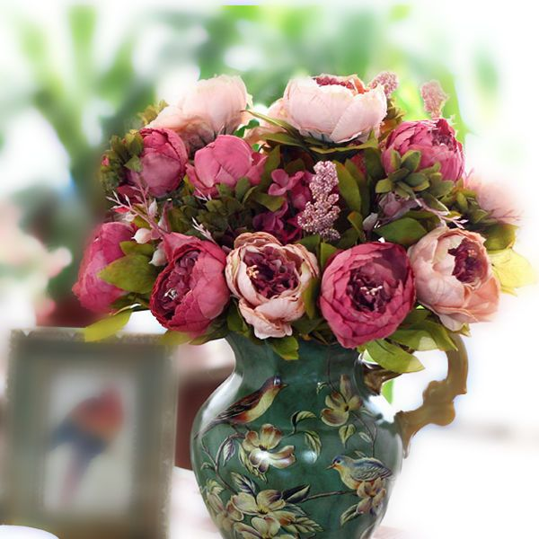 New Realistic Artificial Silk Fake Peony Hydrangea Flower Wedding Party Decor