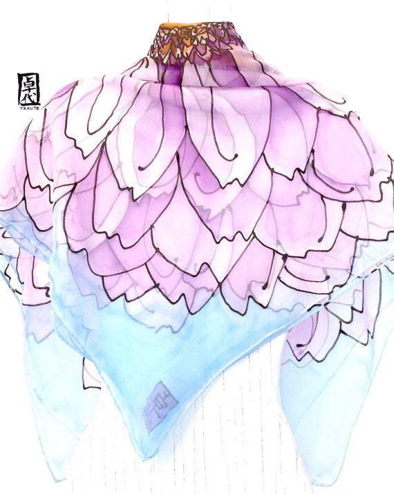 Silk Scarf Square Hand Painted Silk Purple by SilkScarvesTakuyo