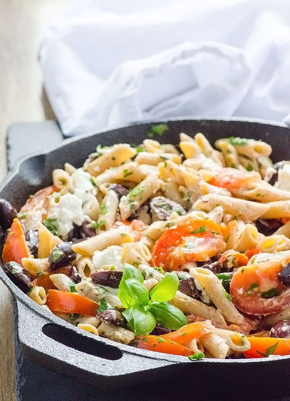 Penne with Kalamata Olives, Garlic Roasted Tomatoes and Goat Cheese -- Super easy pasta dinner recipe taking advantage of summer produce's bounty and Costco's jumbo jars.  | http://ifoodreal.com