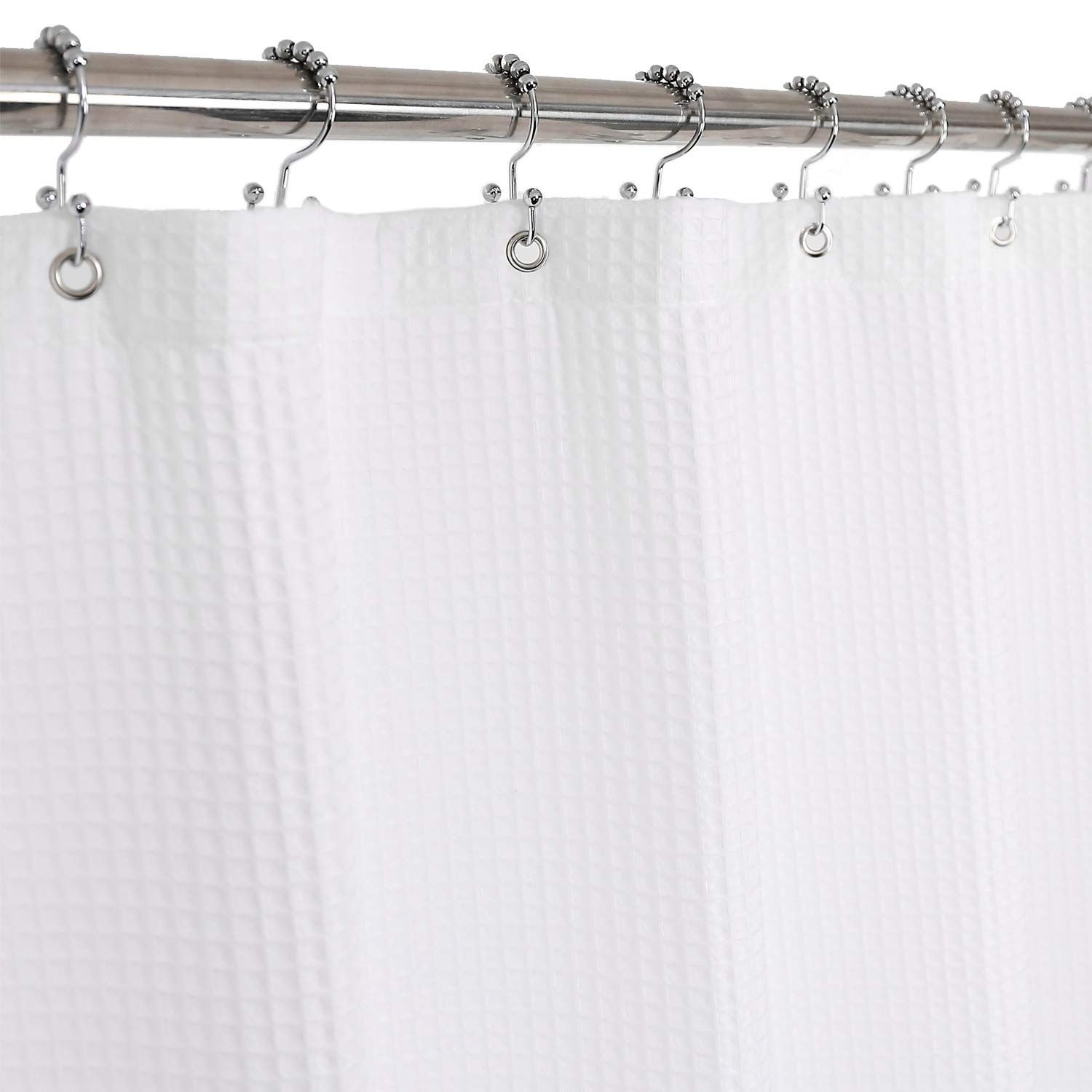 Barossa Design Honeycomb Waffle Weave Shower Curtain Cotton Blend