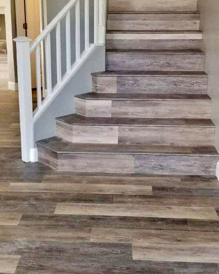 CoreTec LVT flooring can also be installed on stairs