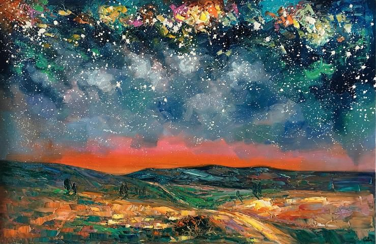Abstract Landscape Painting Starry Night Sky Painting Original Art Painting Oil Painting For Sale Abstract Landscape Painting Sky Painting Night Sky Painting