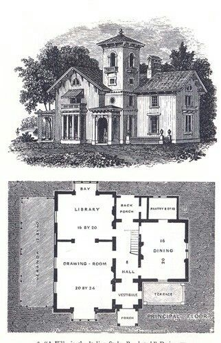Andrew Jackson Downing Italianate Italian Villa House Plans Beach House Plans Farmhouse Style House Plans
