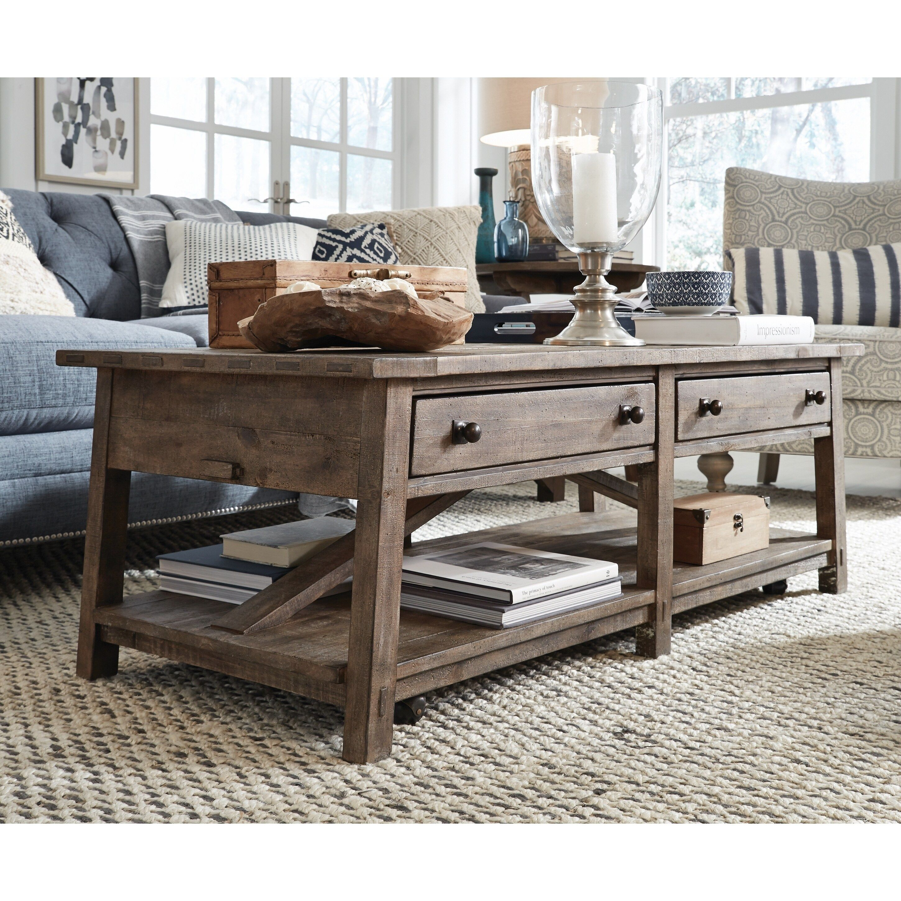 Bluff Heights Rustic Weathered Coffee Table With Casters Brown Coffee Table Coffee Table With Casters Coffee Table Setting [ 2899 x 2899 Pixel ]