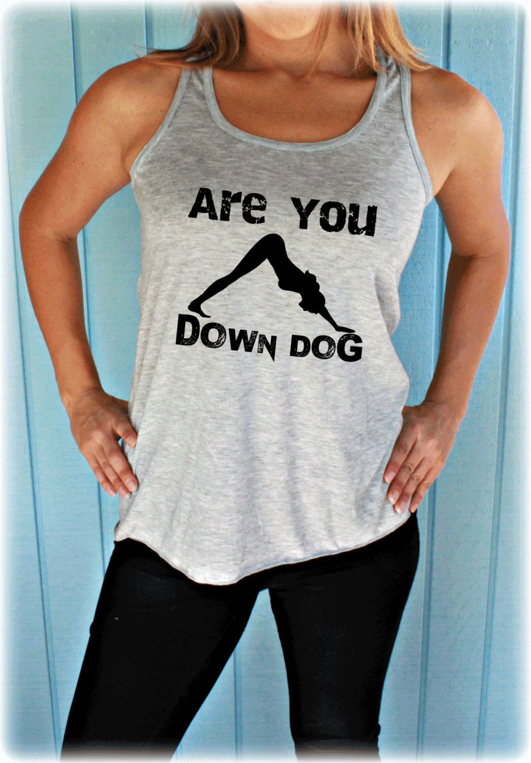 Flowy Yoga Tank Top. Are You Down Dog. Workout Apparel. Funny Yoga Shirt