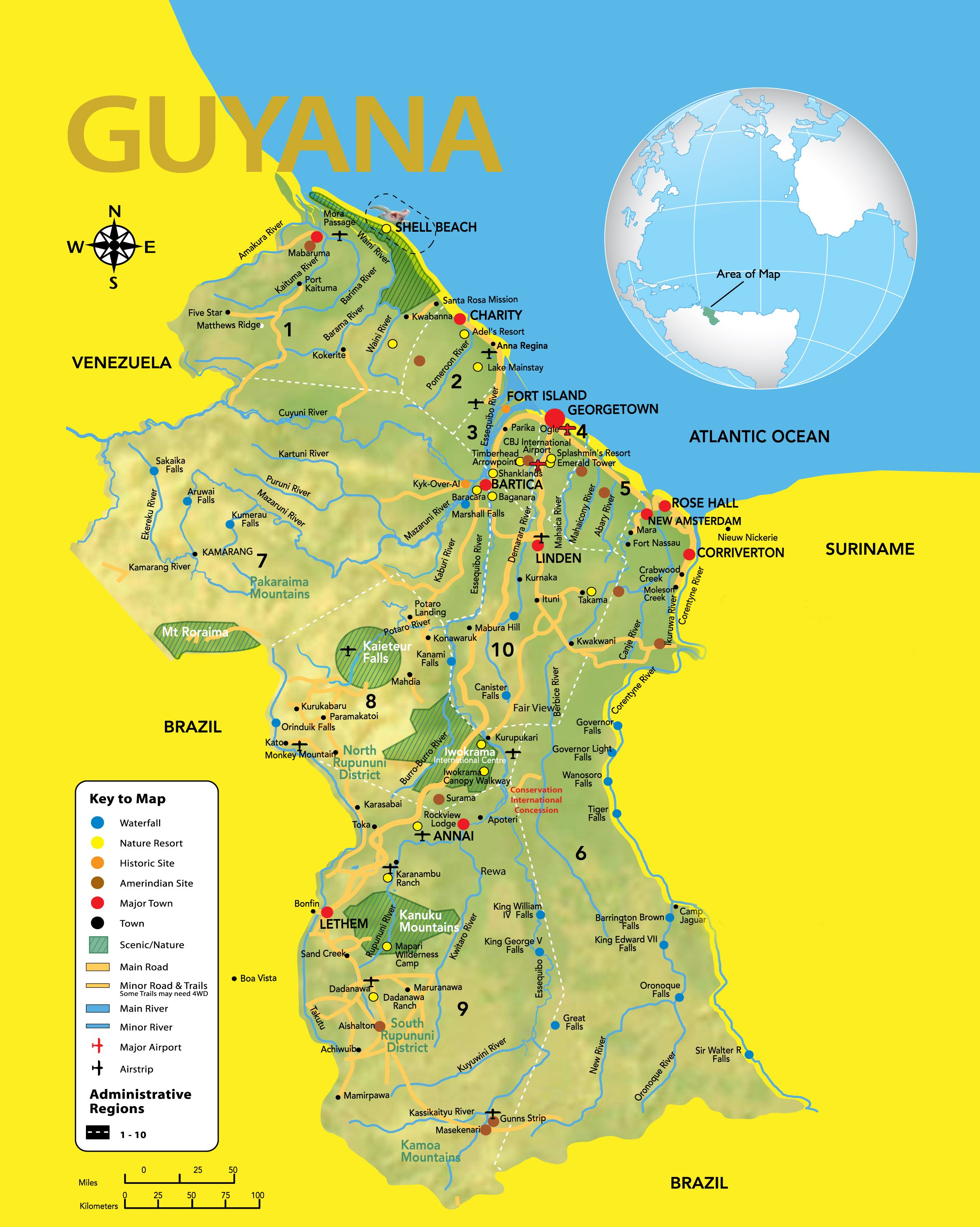 Guyana Road Map showing all the major roads with capital city and ...