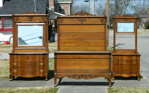 3 Piece Solid And Tiger Oak Bedroom Set Bed Dresser Washstand Circa 1900 Ebay Oak Bedroom Bedroom Set Antique Beds