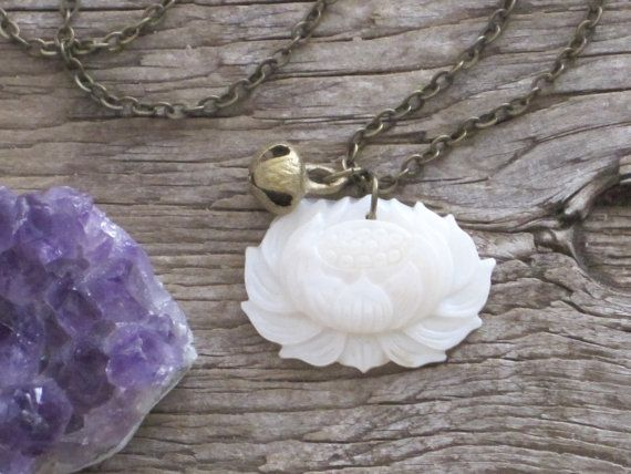 Innocence Genuine Hand Carved in Tibet Natural Shell Lotus Flower Blossom Water Lily with Vintage Brass Bell Necklace by TheTattooedLotus, $15.00