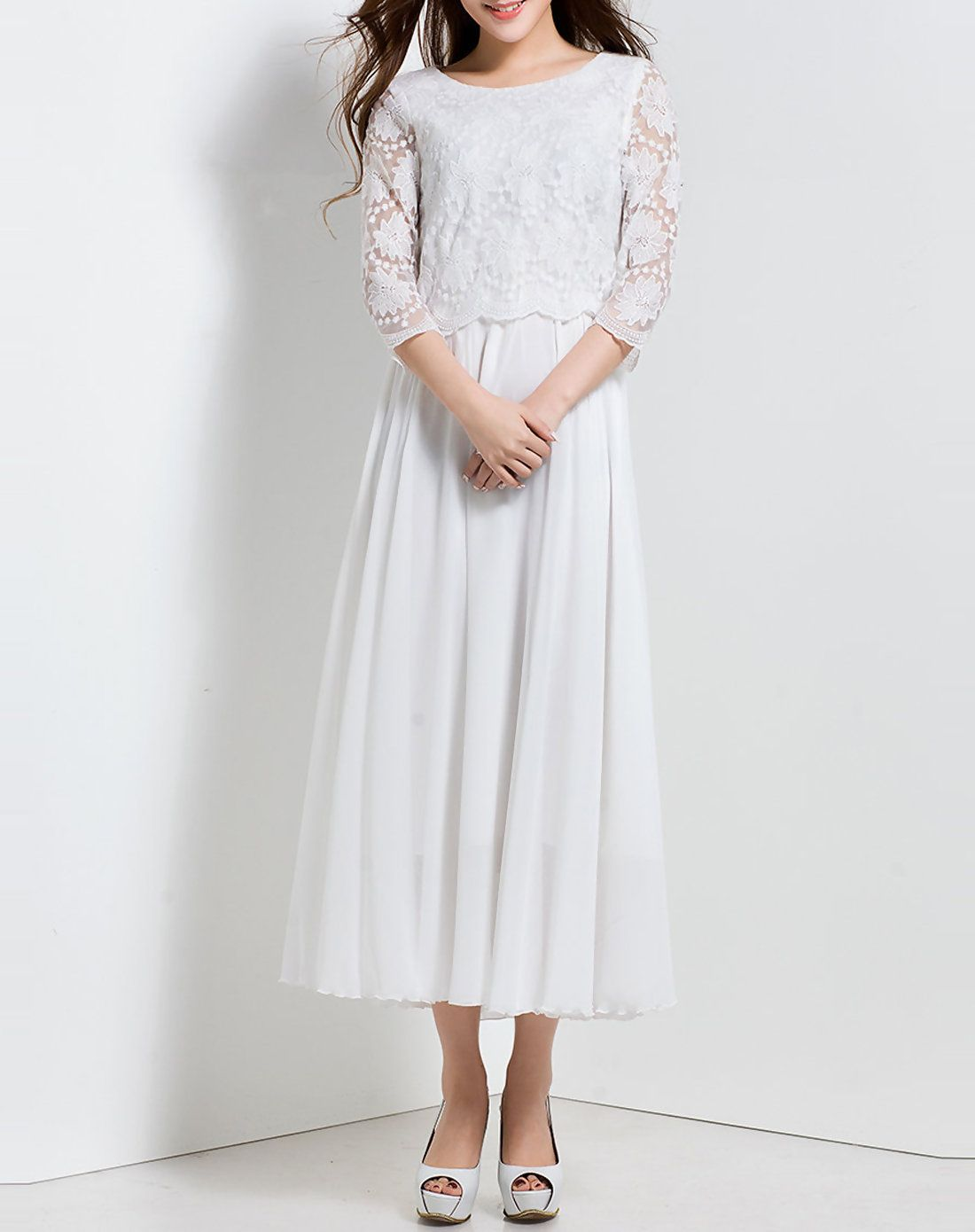Charming polyester casual sleeve crew neck maxi dress maxi