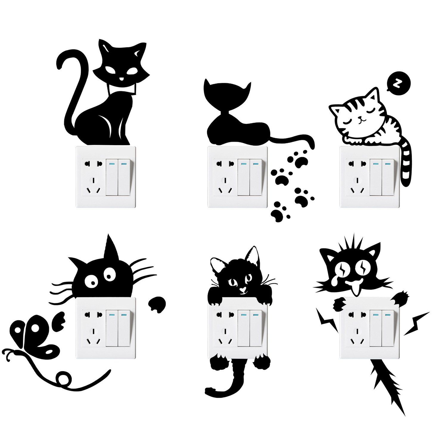 DIY Black Funny Cat Switch Stickers Cute Wall Decals Bedroom Parlor Home Decor S