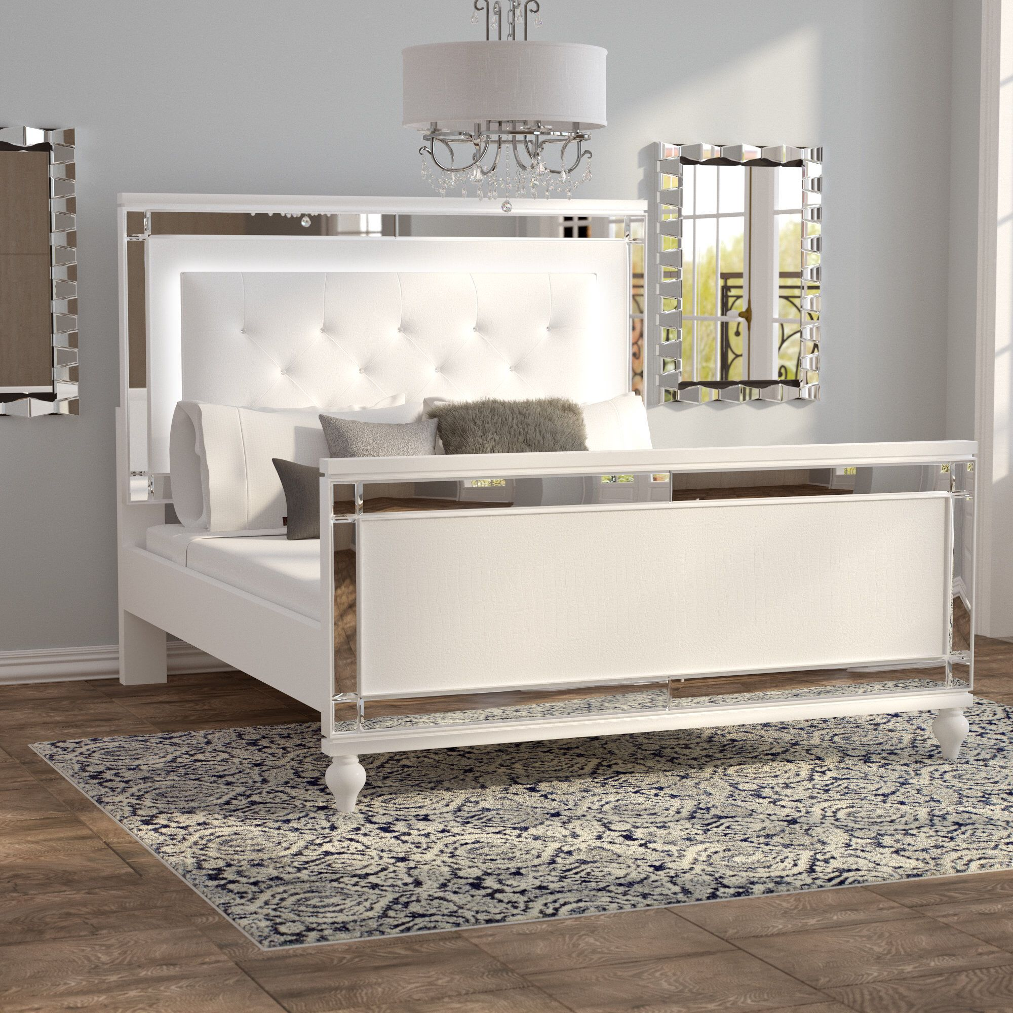 Rivage Tufted Solid Wood And Upholstered Low Profile Standard Bed Upholstered Panel Bed Upholstered Beds Glam Bedroom Decor