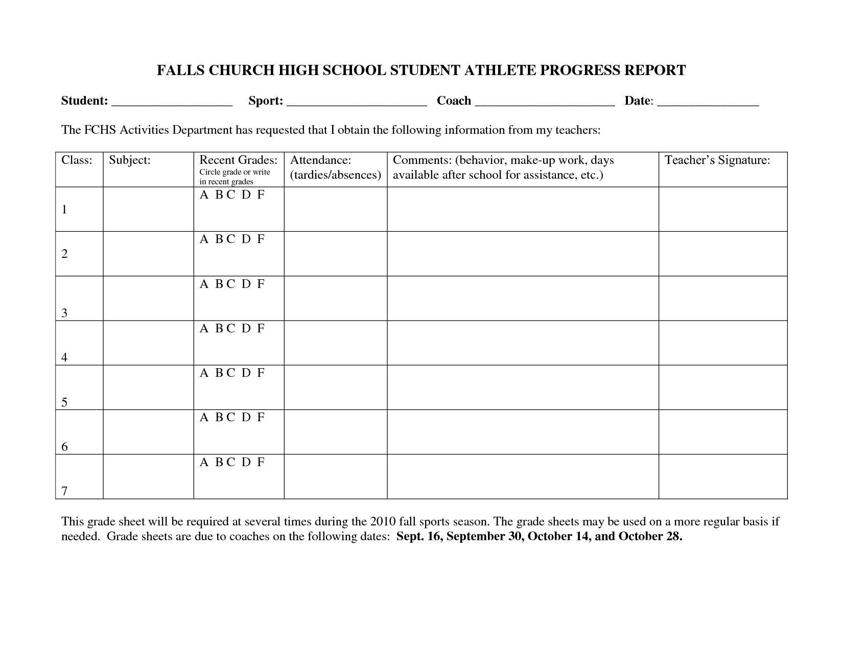 Falls Church High School Student Athlete Progress Report Intended