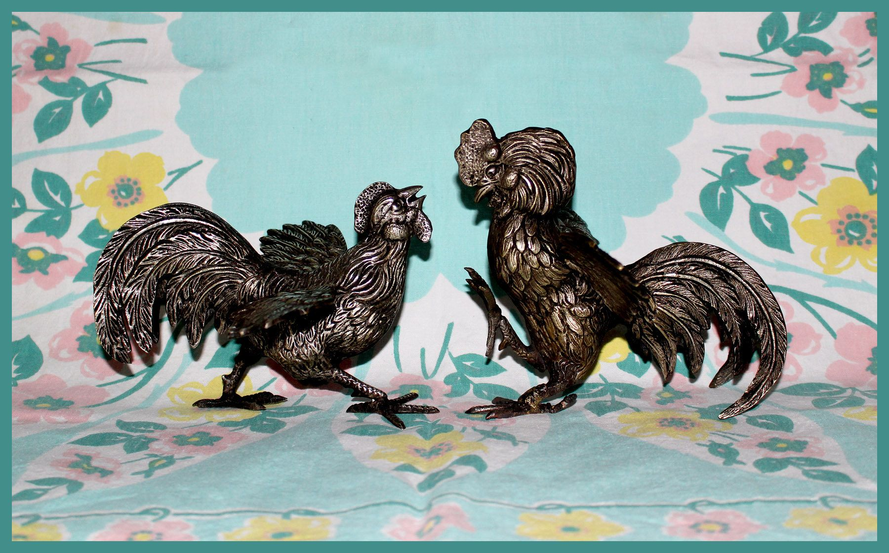 Pair of Solid Brass Fighting Hen and Rooster Figurines, Vintage ...