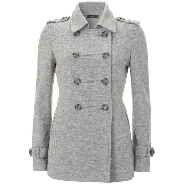Mint Velvet Peacoat, Silver Grey (€90) ❤ liked on Polyvore featuring outerwear, coats, jackets, tops, coats & jackets, double breasted peacoat, short double breasted coat, military peacoat, military style coat and short peacoat