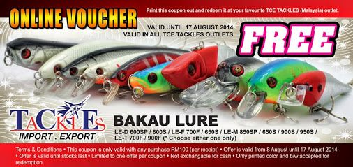Tce Tackles Free Bakau Lure With Online Voucher Fishing Shared By Cakap Niaga Google Online Vouchers Fishing Equipment Online