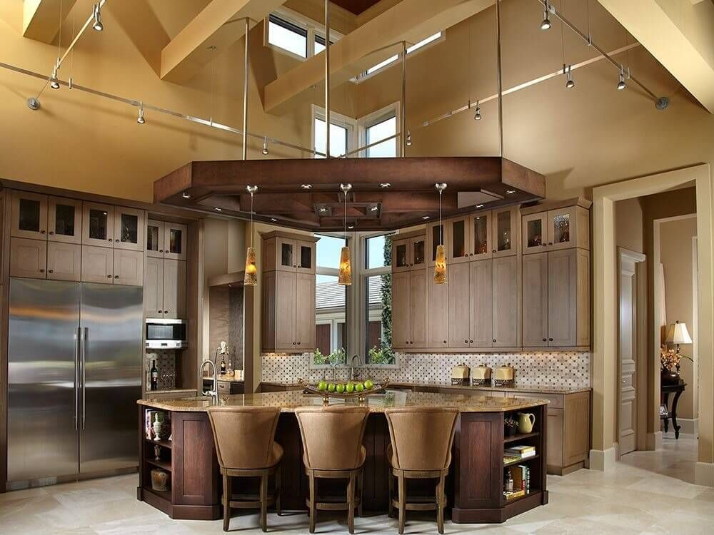 Unique Corner Design Kitchen Flaunts High Ceiling Space With Overhung Wood  Lighting Structure, Mirroring Triangular