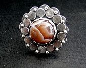 Botswana agate, sterling silver ring.... size 7 1/4