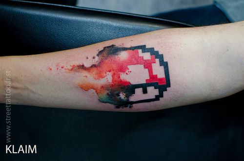 Water Color And Pixel Super Mario Mushroom On The Arm Artist