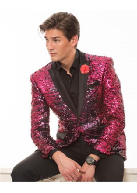 8c637b1ac4ac Product#SS-8415 Hot Pink ~ fuchsia and Liquid Jet Black Lapel Tuxedo Dinner  Jacket Looking Blazer Online Sale Sport Jacket Coat / Suit With Sheen
