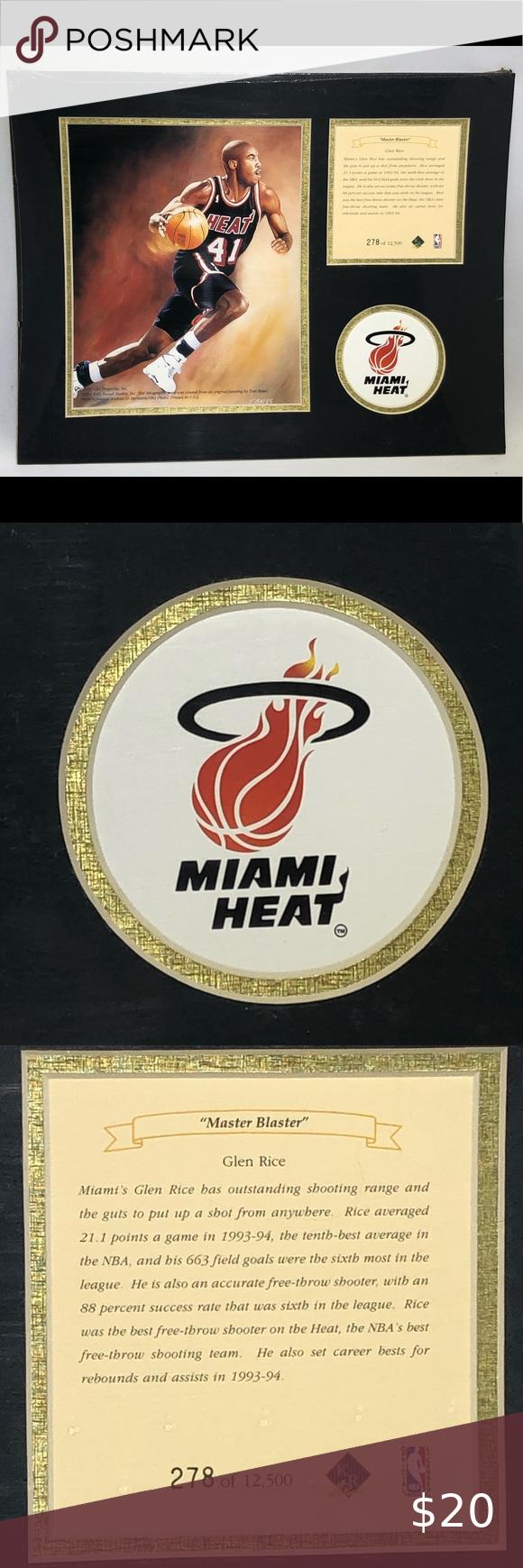 Glen Rice Miami Heat Matted Lithograph Art Print 1995 Glen Rice Miami Heat Unframed Matted Kelly Russell Studios Nba Limited Ed In 2020 Miami Heat Glen Rice Field Goal