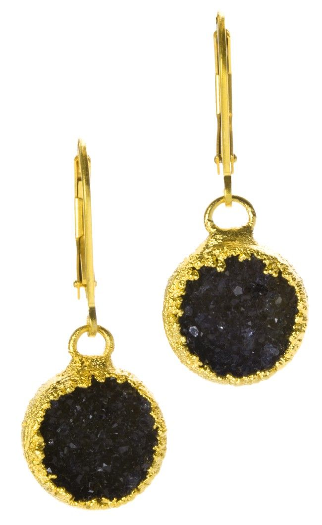 Black Druzy Earrings Nina Nguyen Designer Jewelry Pinterest