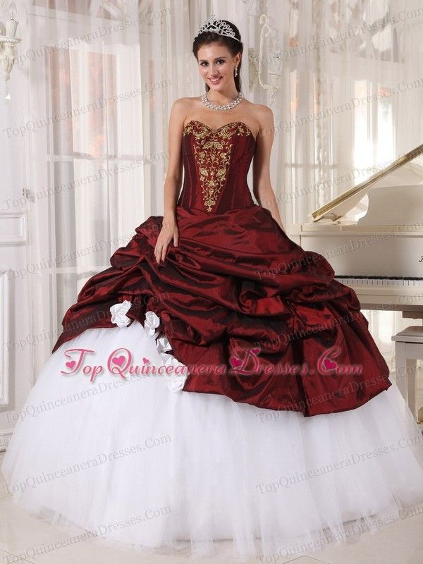 984e1e35ee7 Burgundy And White Quinceanera Dress With Gold Appliques -  185.47 ...