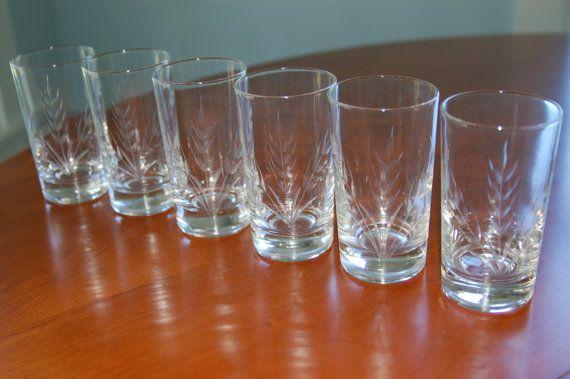 Six Vintage Etched Glasses Wheat Mad Men Juice Glasses Drinking Glasses Tumblers Etched Glasses Vintage Team Gifts