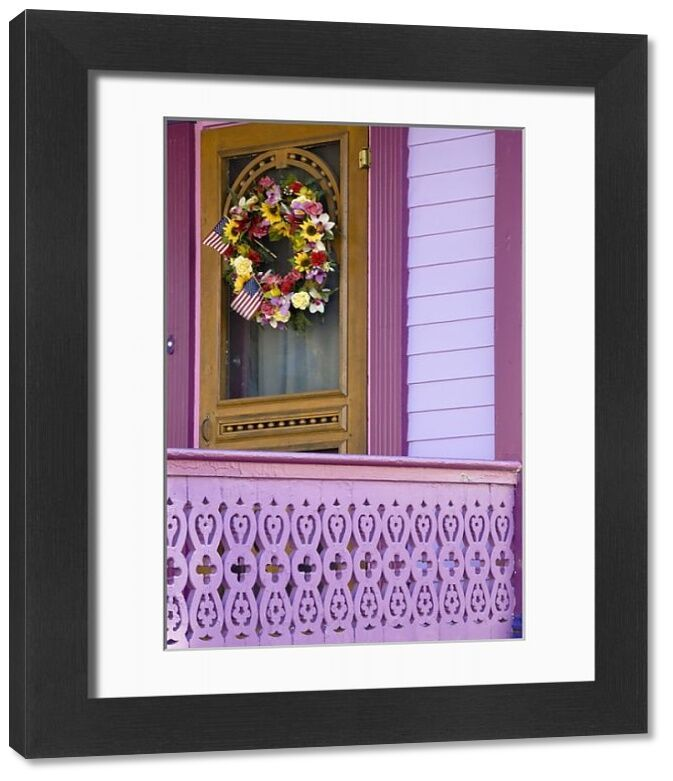 Framed Print USA New Jersey Cape May Cheerful wreath on front porch door Credit as Jay O Brien