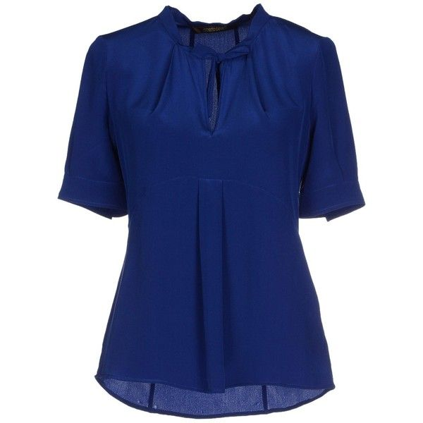 Roberto Cavalli Blouse (1 665 SEK) ❤ liked on Polyvore featuring tops, blouses, blue, zip top, zipper top, blue top, blue blouse and short sleeve tops