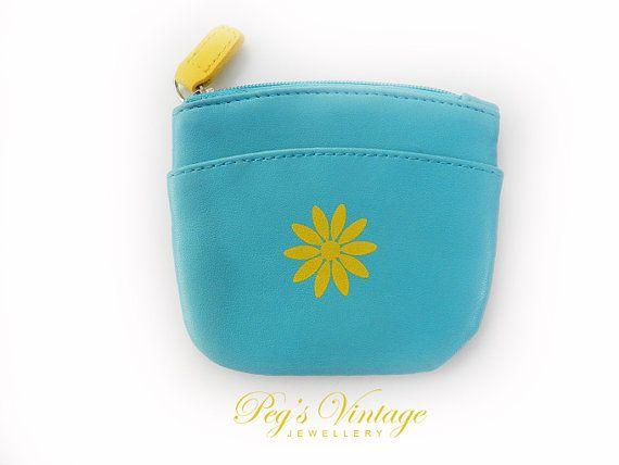 Vintage turquoise silk snap change purse