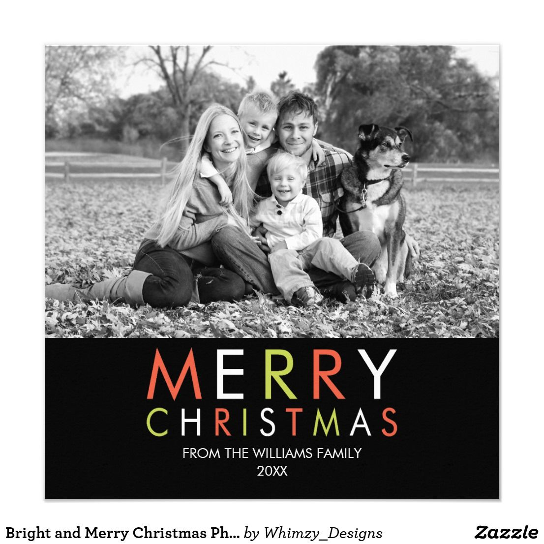 Bright and merry christmas photo card black