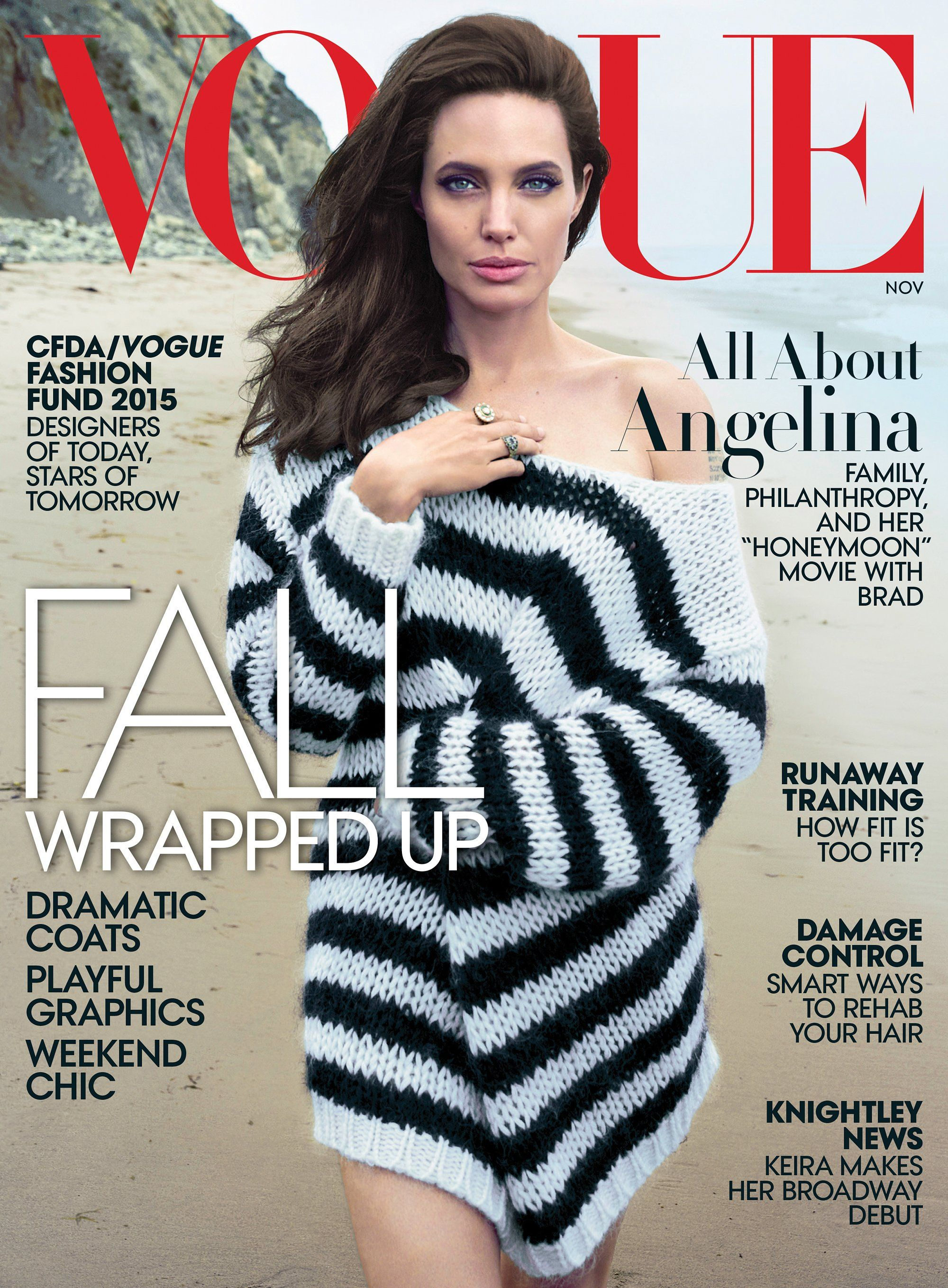 Angelina Jolie Pitt On Family Philanthropy And Her Honeymoon Clothing Georgia Mini Dress Strong Like The Sea Wears A Saint Laurent By Hedi Slimane Sweater Angelinajolie Vogue Cover
