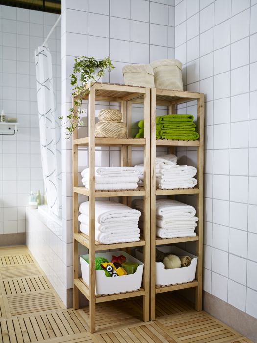 Molger shelf unit birch bath linens bath accessories for Linen closet ikea