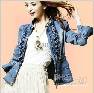 200a8ec2aed 186 free shipping 2013 fashion newest women jeans trumpet sleeves ruffle  jacket coat clothes outwear Women s