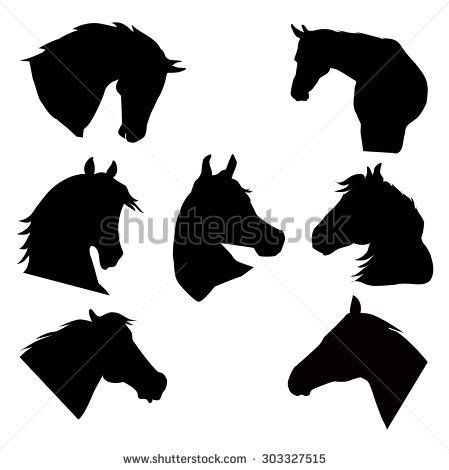 Horse Heads Silhouette Vector Set   Caladora