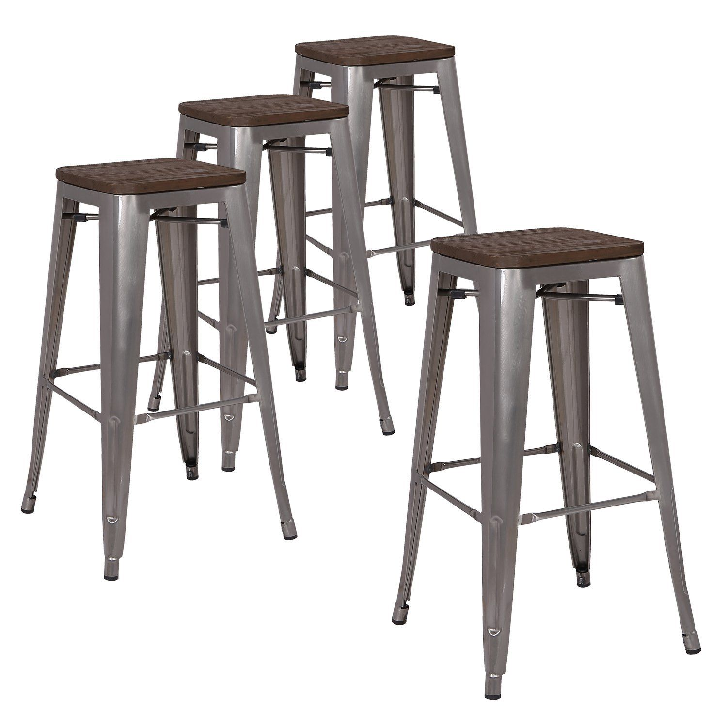 4 Stackable Industrial Bar Stools With Images Bar Stools