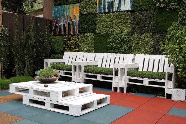 Paletten Möbel selbermachen-weiß bepflanzt DIY Pinterest