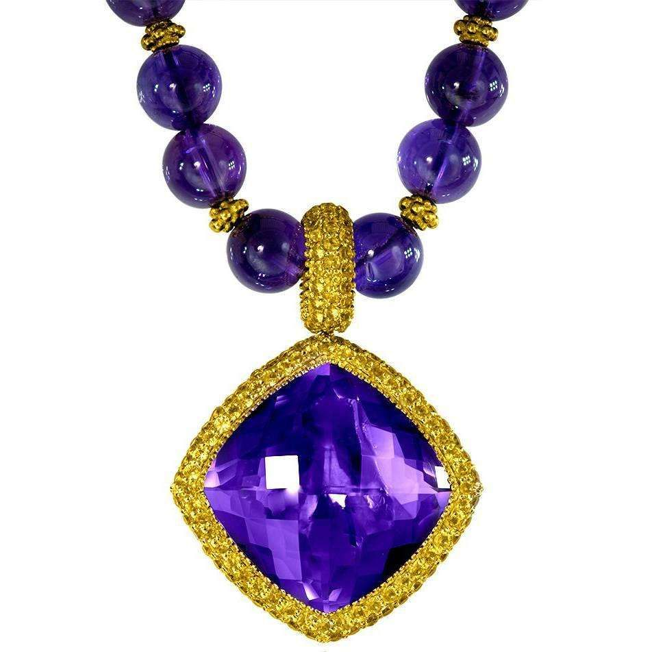 Alex soldier yellow sapphire amethyst yellow gold pendant necklace