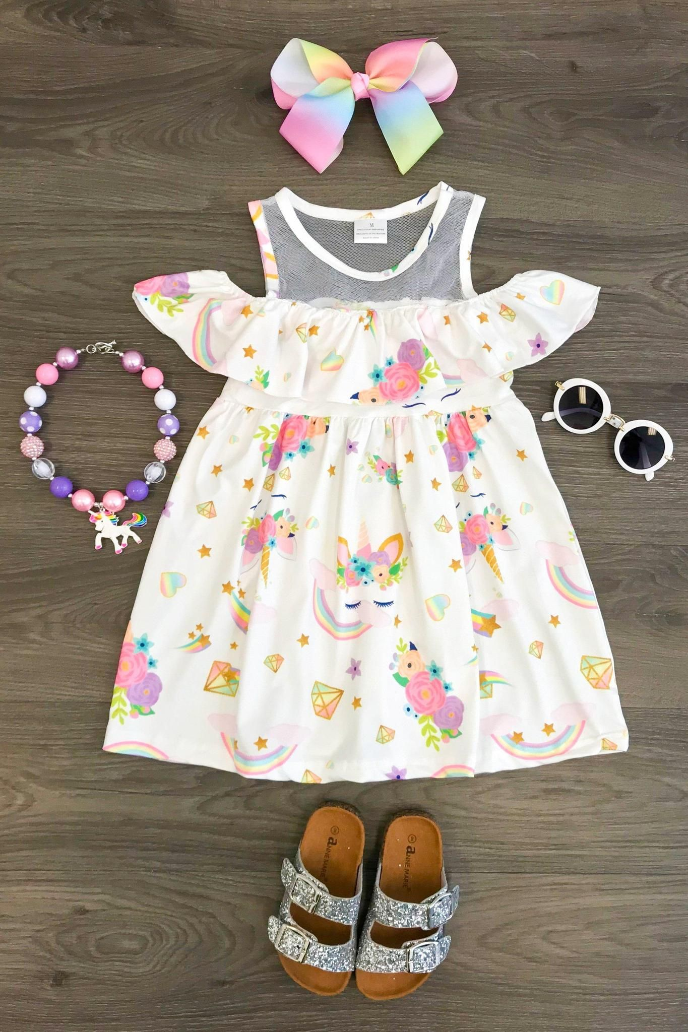 c62e7549d57fb White Unicorn Off Shoulder Dress   Unicorn Party   Toddler dress ...