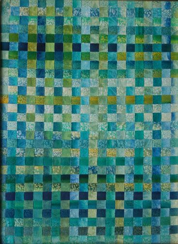Impressions of  Grandmothers (woven).  Teal, olive, blue-gray, aqua