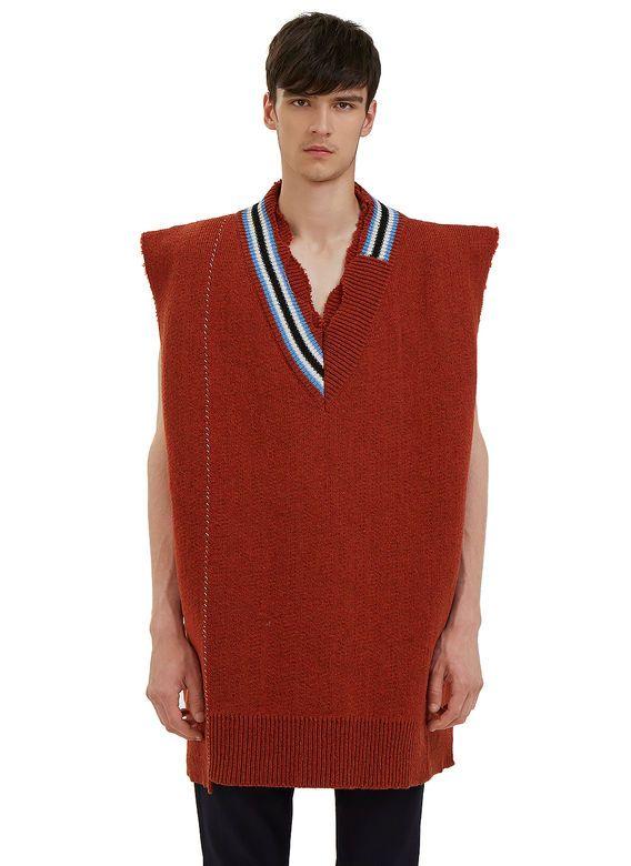 Raf Simons Oversized Varsity Sweater Vest | LN-CC | Cardigans For ...