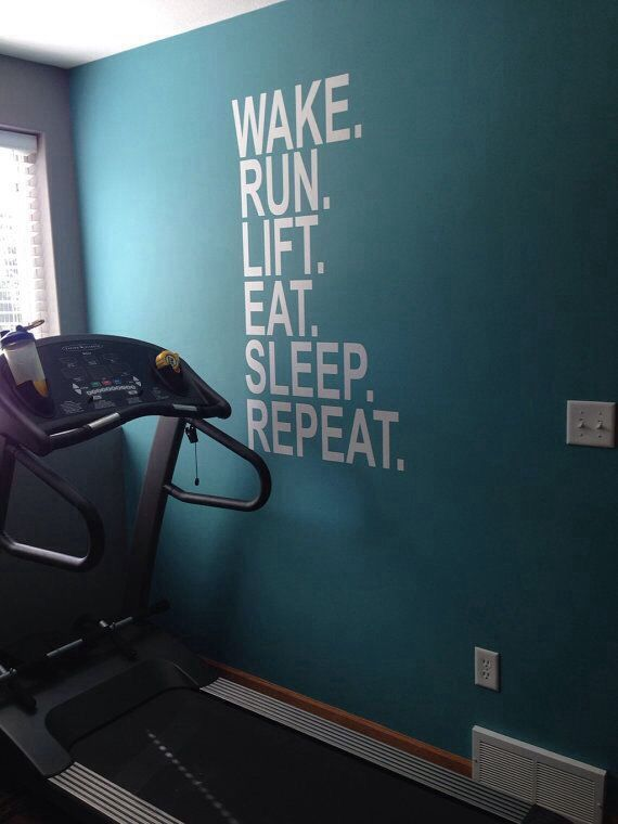 Wake Run Lift Eat Sleep Repeat, Wall Decor Vinyl Decal Gym Workout  Motivation Quote 18 I Like The Wall Color For My Home Gym.
