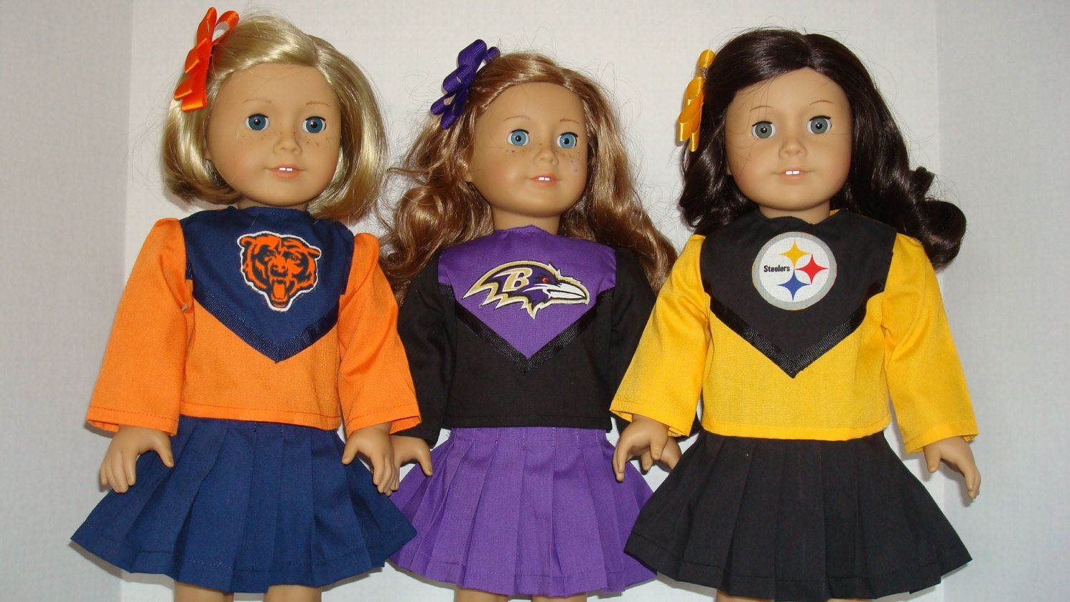 American Girl Doll Clothes/Chicago Bears/Baltimore Ravens/Pittsburgh Steelers/Cheerleader outfit 18 inch American Girl Doll/READY TO SHIP #18inchcheerleaderclothes