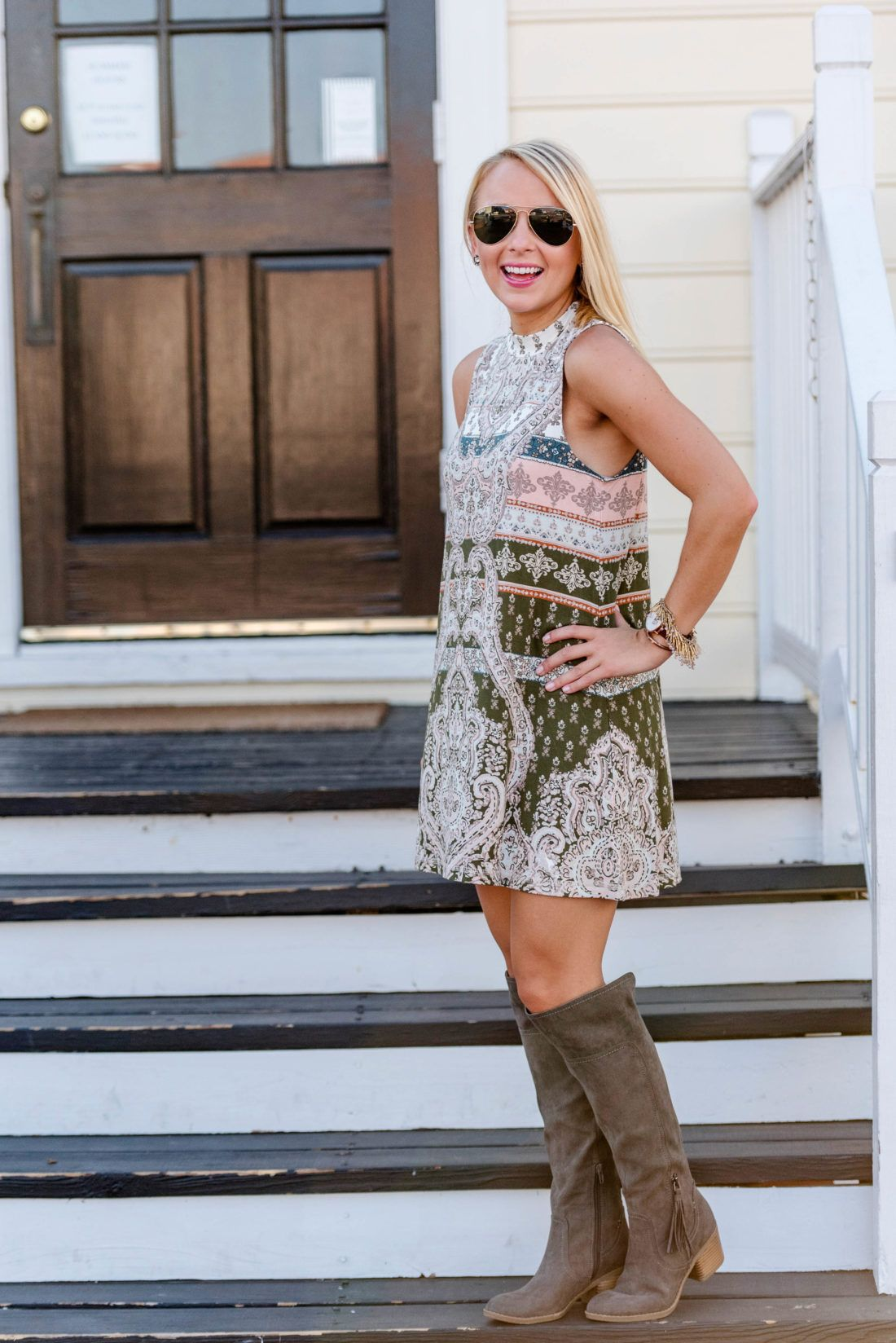 amy-littleson-from-i-believe-in-pink-wearing-transitional-fall-nordstrom-dress-daniel-wellington-watch-and-indigo-rd-boots