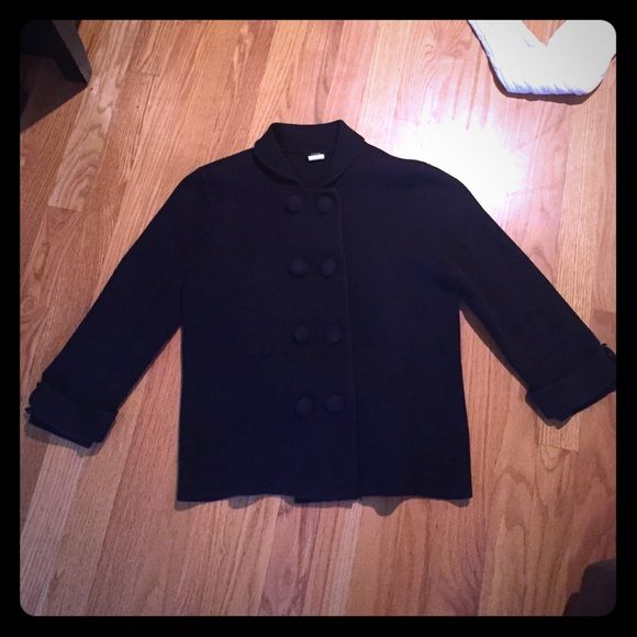 J Crew navy blue sweater jacket coat top size M This is a navy blue sweater coat from J Crew in size medium. It ties in the back. It is in excellent like new condition. Thanks for looking!!! J. Crew Jackets & Coats