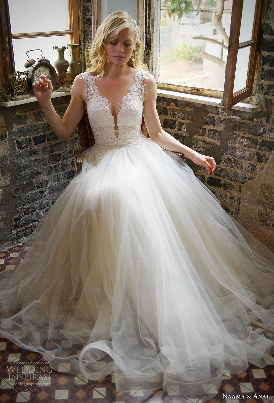 naamat and anat 2017 bridal long sleeves deep plunging v neck full embellishment elegant sexy sheath wedding dress with tulle a line overskirt low back sweep train (libertis) mv