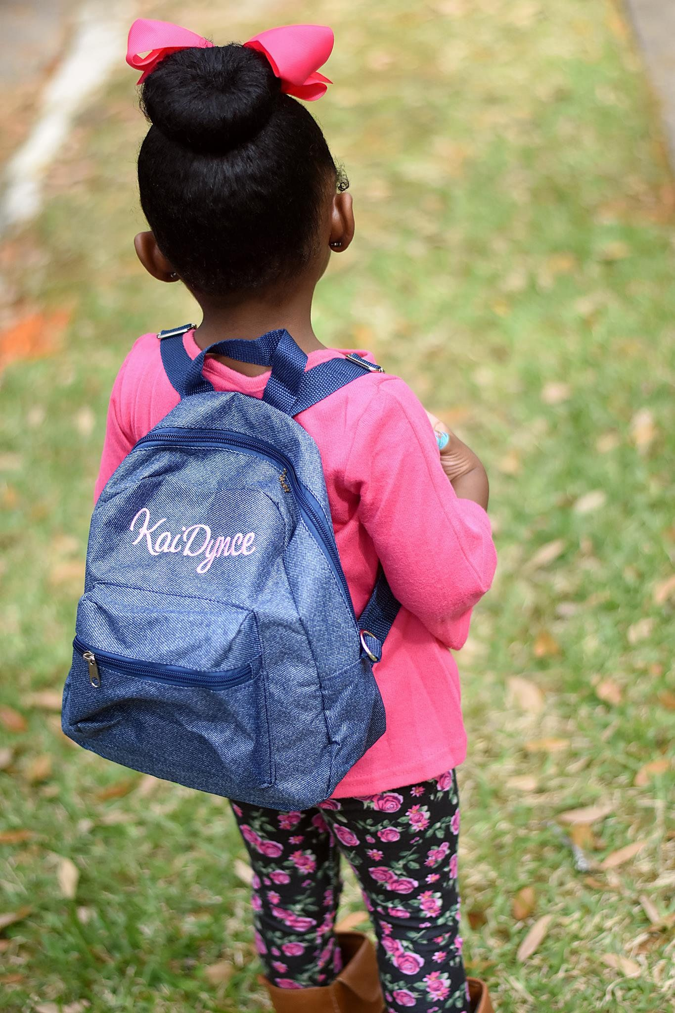 Monogrammed Toddler Backpack - Denim Blue Jean Print - Personalized with Embroidered  Name or Initials - Mini Boy or Girl Bag by D84Designs on Etsy e9f55947c2460